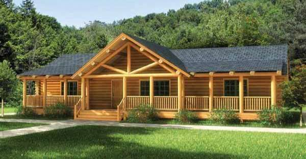 One story log home floor plans gurus floor for Single level log home plans