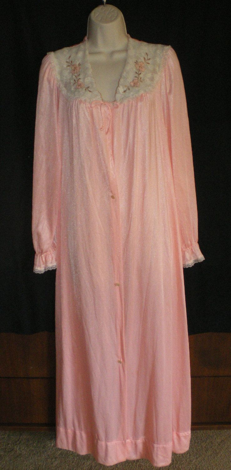 Vintage Women Lingerie Nylon Peach Robe with Lace & Embroidered Flowers
