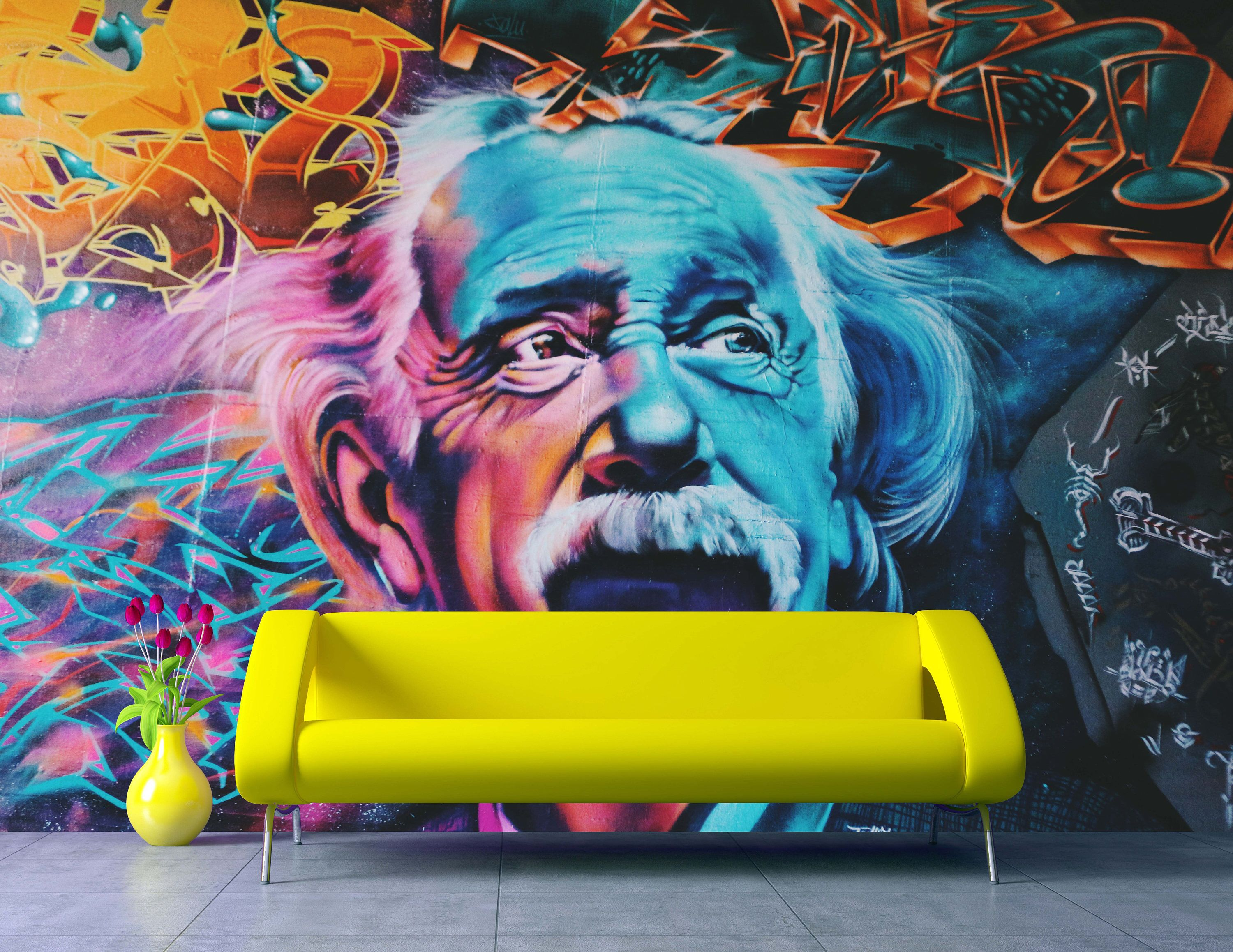 Removable Wallpaper Mural Peel & Stick Einstein Graffiti Wall Self