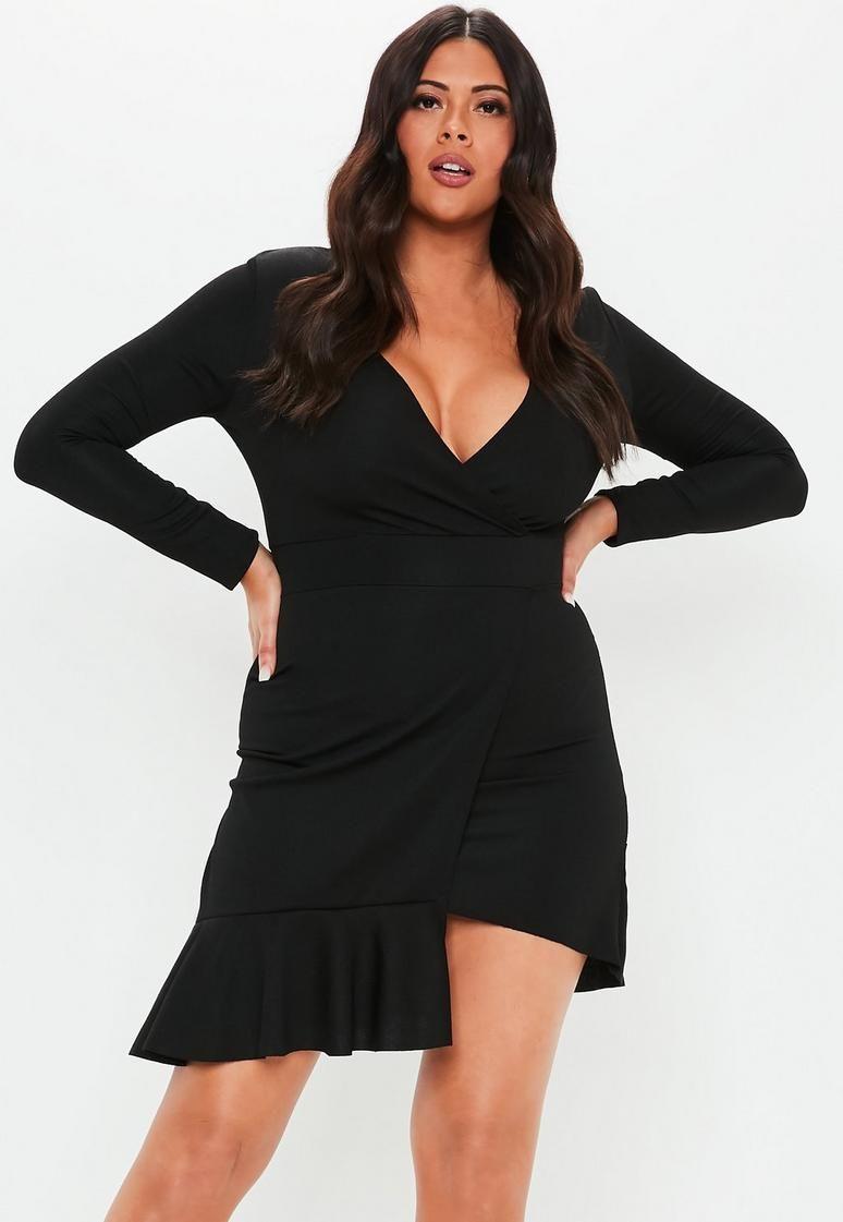 4fee67291c89 Plus Size Black Frill Hem Mini Dress | Plus size fashion for women ...