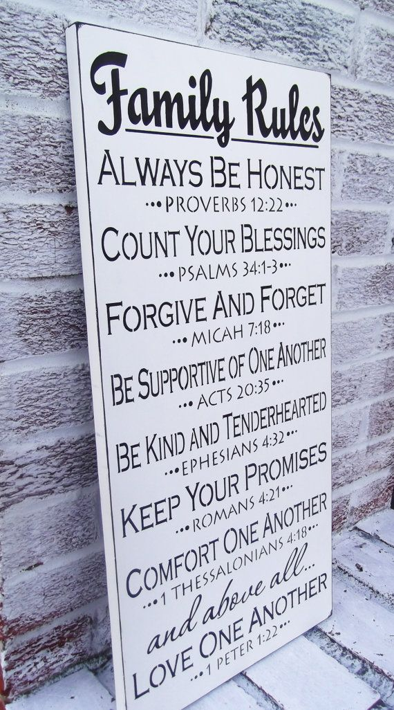 Family Rules Sign Scripture Large Wall Art Typography