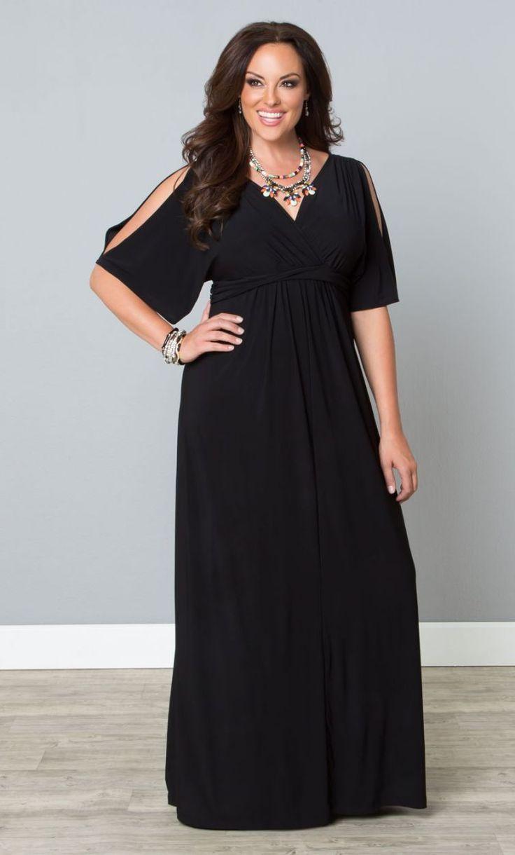 f24efb1935743  plussize  black  maxidress at Curvalicious Clothes Coastal Cold Shoulder  Dress - Black Trendy Curvy