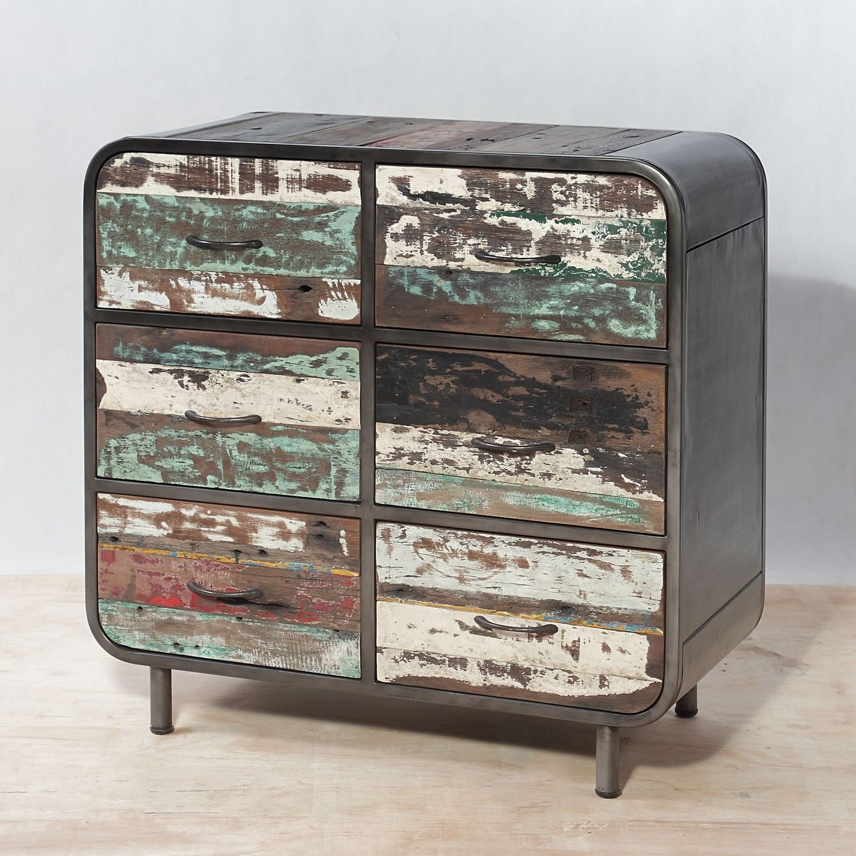 Mobile cassettiera 6 cassetti in ferro e legno massello di teak ...