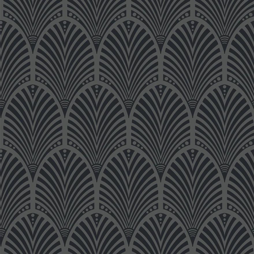 Gatsby Opulence Art Deco Wallpaper in 2020 Charcoal