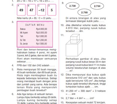 Soal Uas Matematika Kelas 1 Kelas 2 Kelas 3 Kelas 4 Kelas 5 Kelas 6 Semester 1 Dan Semester 2 Lengkap Matematika Blog Sekolah