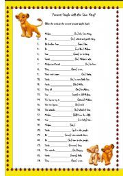 English Worksheet Present Simple With The Lion King