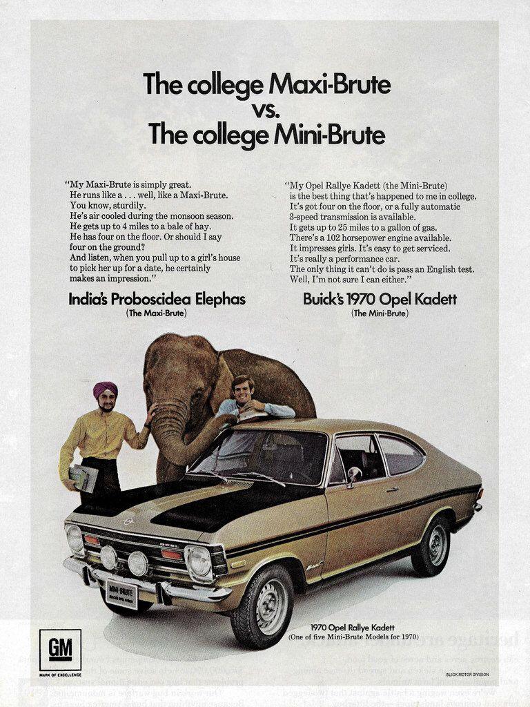 1970 Opel Rallye Kadett Usa Art Cars Opel Car Ads