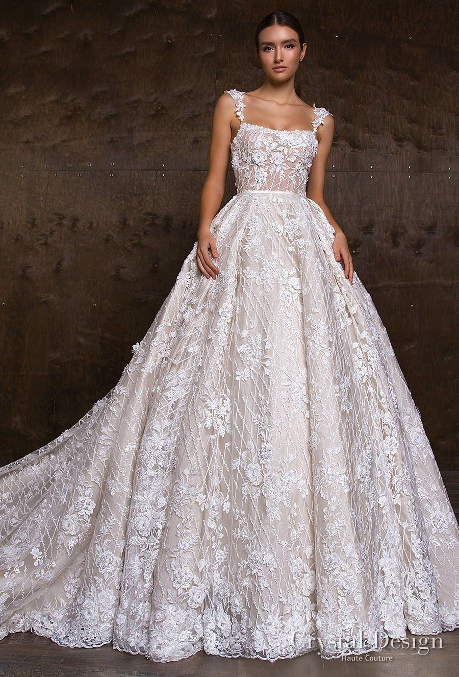 Lace strap wedding dress  crystal design  sleeveless lace strap straight across full