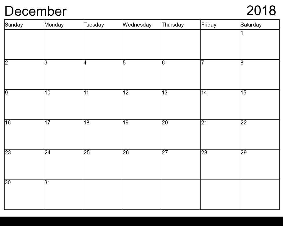 picture regarding Free Printable Calendar December called December 2018 Printable Calendar Templates December 2018