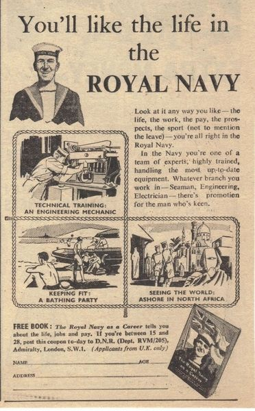 Vintage 1955 Royal Navy Recruitment Advert Vintage Advertising Posters Paper Bygones Royal Navy Navy Day Navy Humor