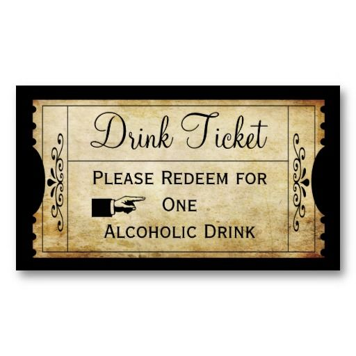 Vintage wedding ticket drink escort punch card for Drink token template