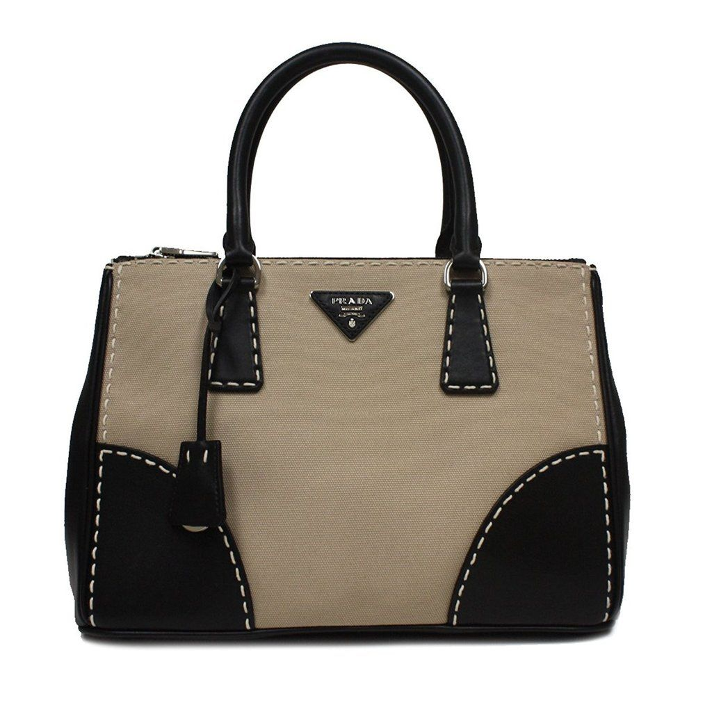 Prada Canapa City Sch Ping Tote Bag Canvas Leather Corda Nero Black