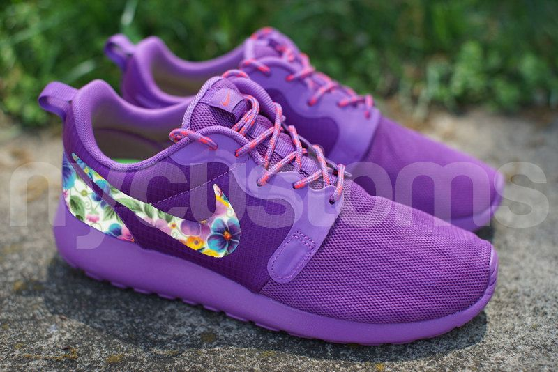 Nike Roshe Run Hyperfuse Purple Floral Dream Custom Womens
