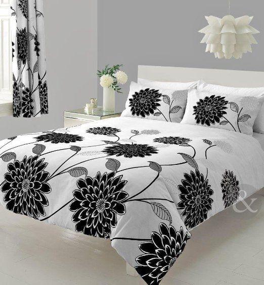 Copripiumino Bianco E Nero.Just Contempo Lotus Set Con Copripiumino Motivo Floreale Stile
