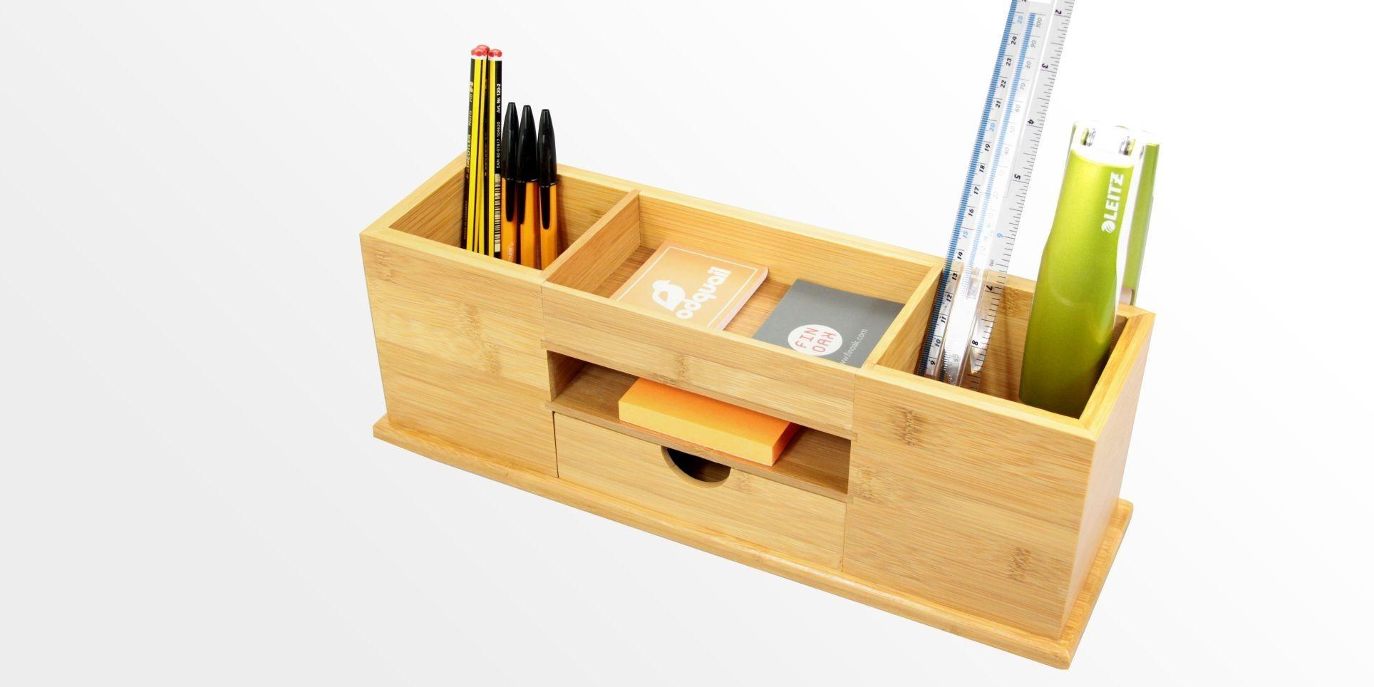 Desk tidy wide stationery organiser bamboo stationery