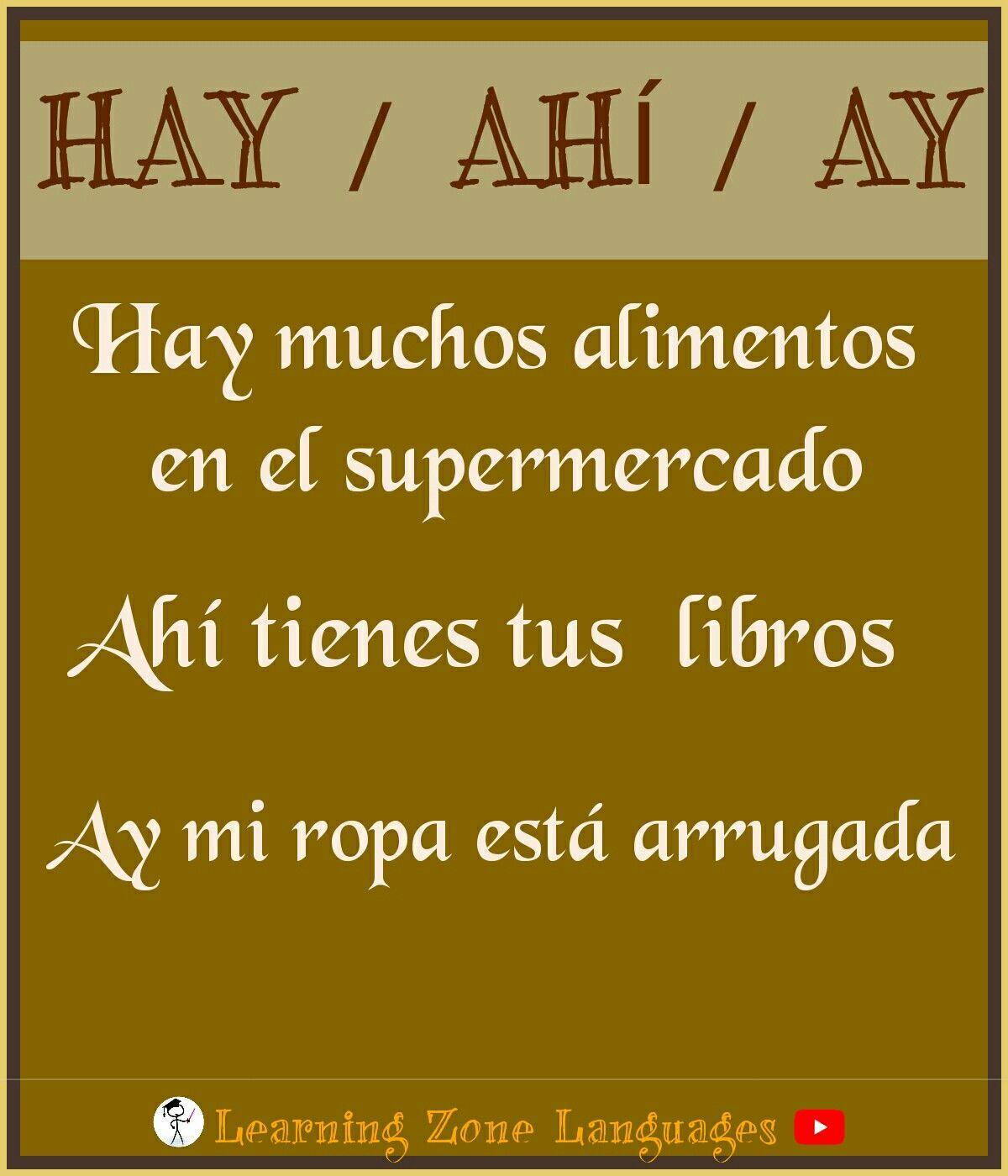 Diferencia Entre Hay Ahí Ay Vocabulary Exercises Spanish Words Spanish
