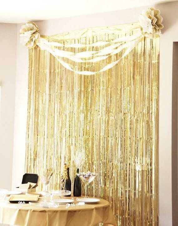 metallic fringe curtain photo decor