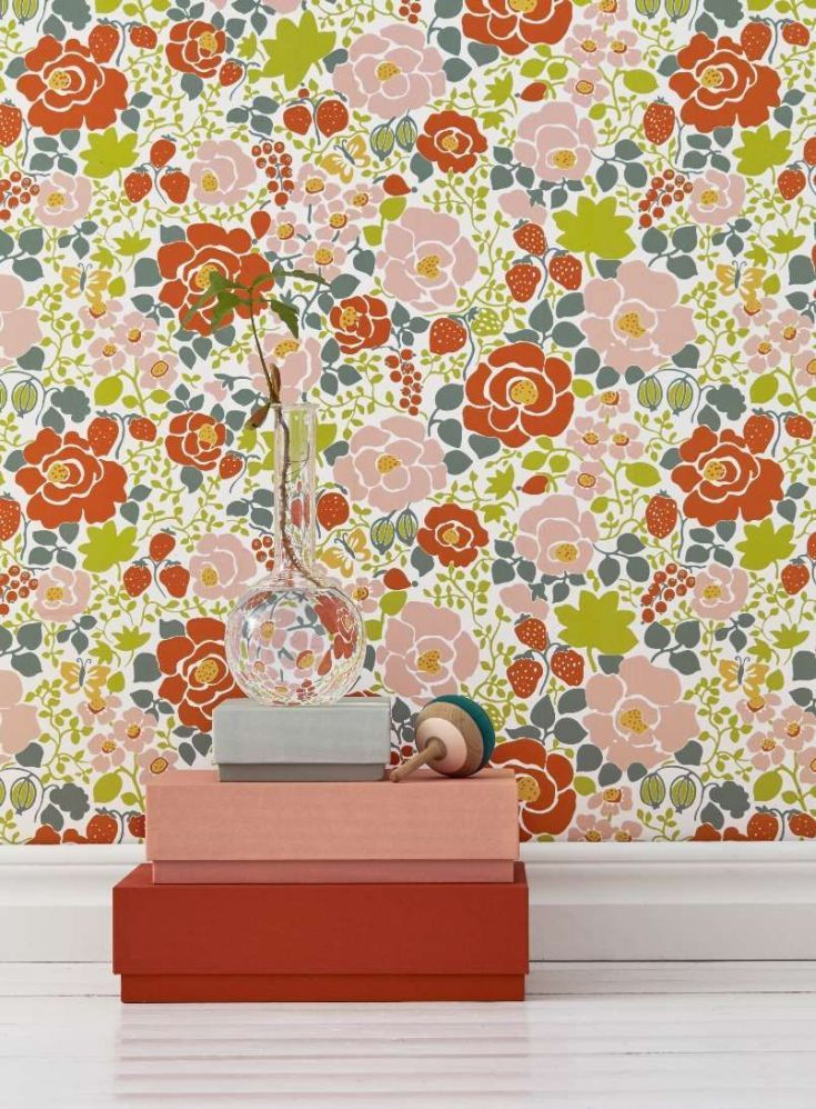 Wonderful A Bright And Vibrant Wallpaper Design Echoing The Style Of The 1970s.