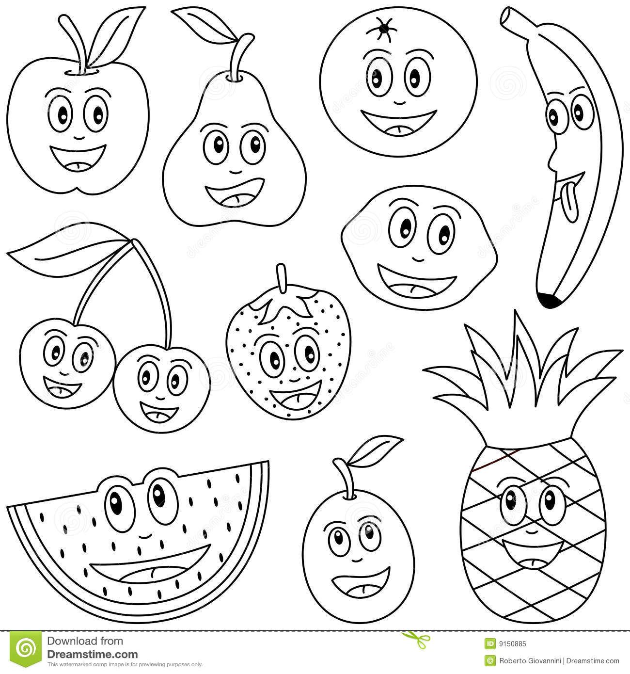 Coloring Fruit for Kids stock vector. Illustration of ...