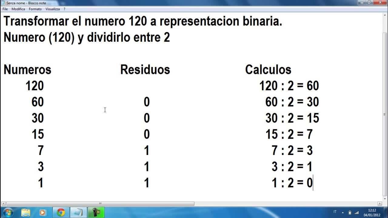 MATEMÁTICAS Conversión de un número decimal a binario MATEMÁTICAS ...