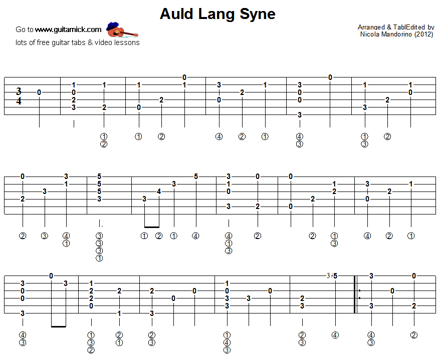 Auld Lang Syne Fingerstyle Guitar Part 1 Music Pinterest