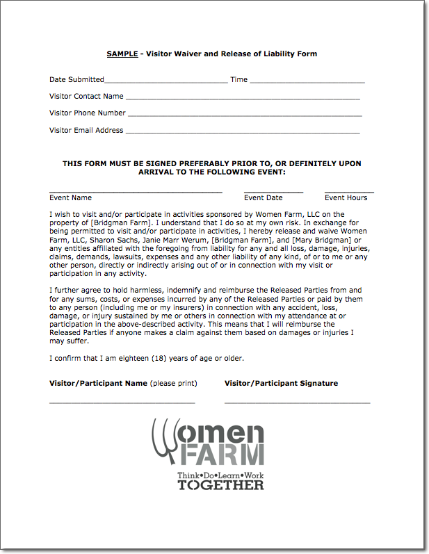 WOMEN FARM Visitor Waiver and Release of Liability waiver of – Example of Liability Waiver