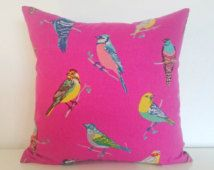 "Pop Art Cushion. 100% Organic cotton, Yellow & blue perched birds. Hot pink cushion cover suitable for 16x16 18x18 20x20 and 22x22"" pads."