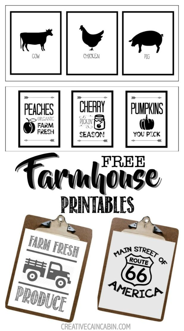 Free Printable Farmhouse Signs : printable, farmhouse, signs, Farmhouse, Animal, Printables, CREATIVE, CABIN, Printables,, Baskets,, Printable, Decor