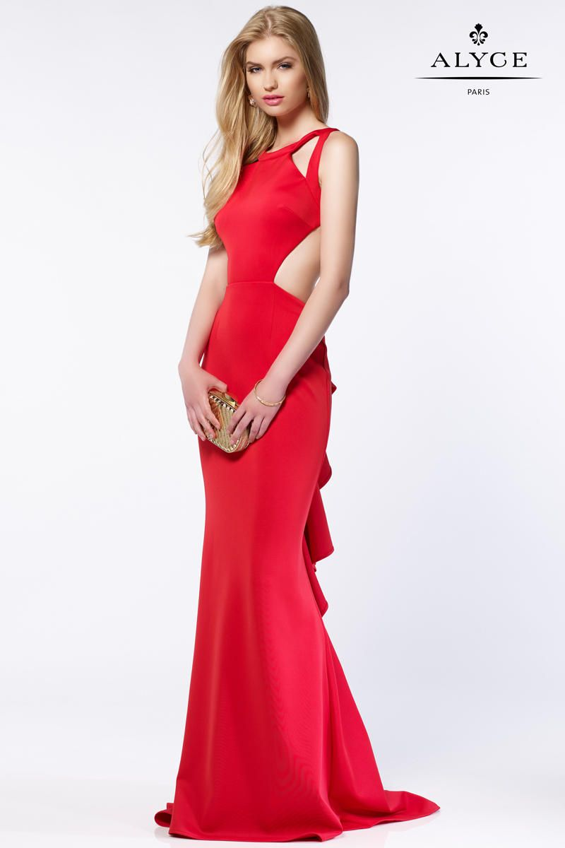 Alyce Paris 8004 Cutout Jewel Gown with Ruffle Back | Scubas, Prom ...