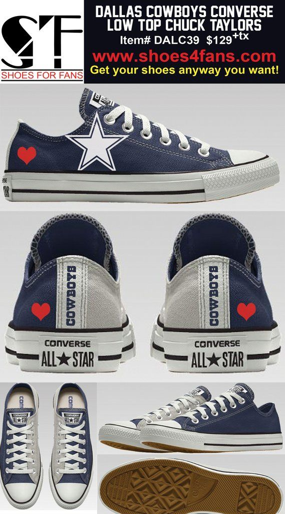 Dallas Cowboys 2-Tone Heart Low Top Converse Shoes f79f45528