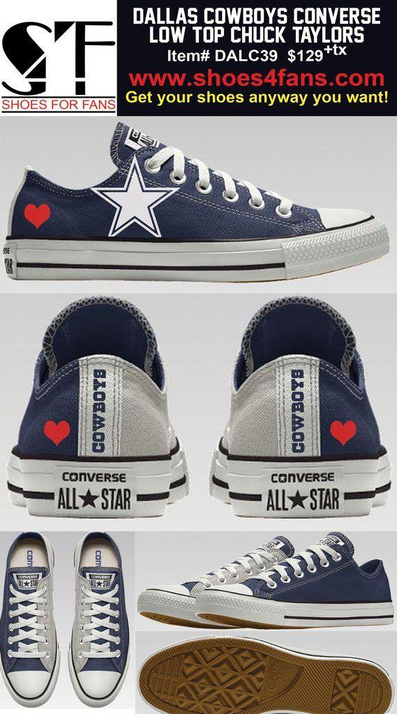 02af4999f96d22 Dallas Cowboys 2-Tone Heart Low Top Converse Shoes