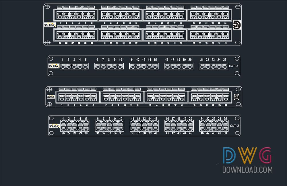 Patch Panel Cad Blocks It Is An Autocad Dwg Drawing File Containing