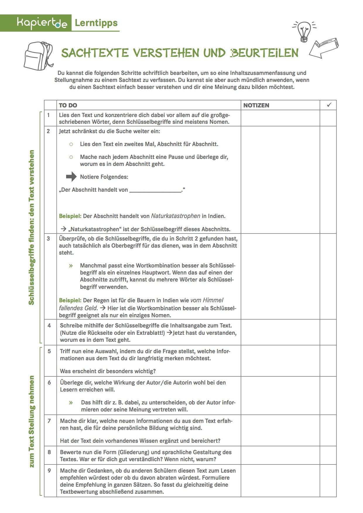 Checkliste Sachtexte Verstehen Und Beurteilen Lernen Sachtext Schreiben Lernen Organisieren