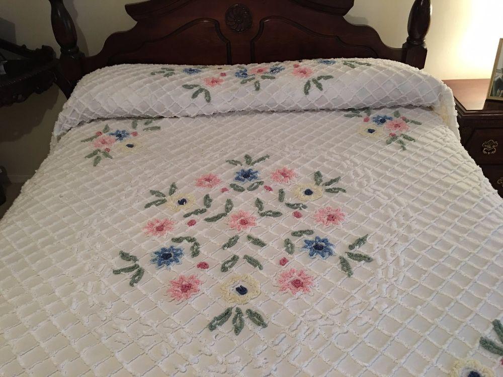 Pretty Vintage Queen Size White Cotton Chenille Bedspread Pastel Florals Chenille Quilt Chenille Bedspread Chenille