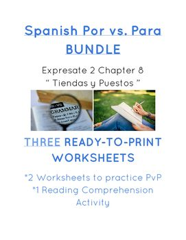 Spanish POR vs PARA MINI BUNDLE: T-Chart, Practice, and Reading ...