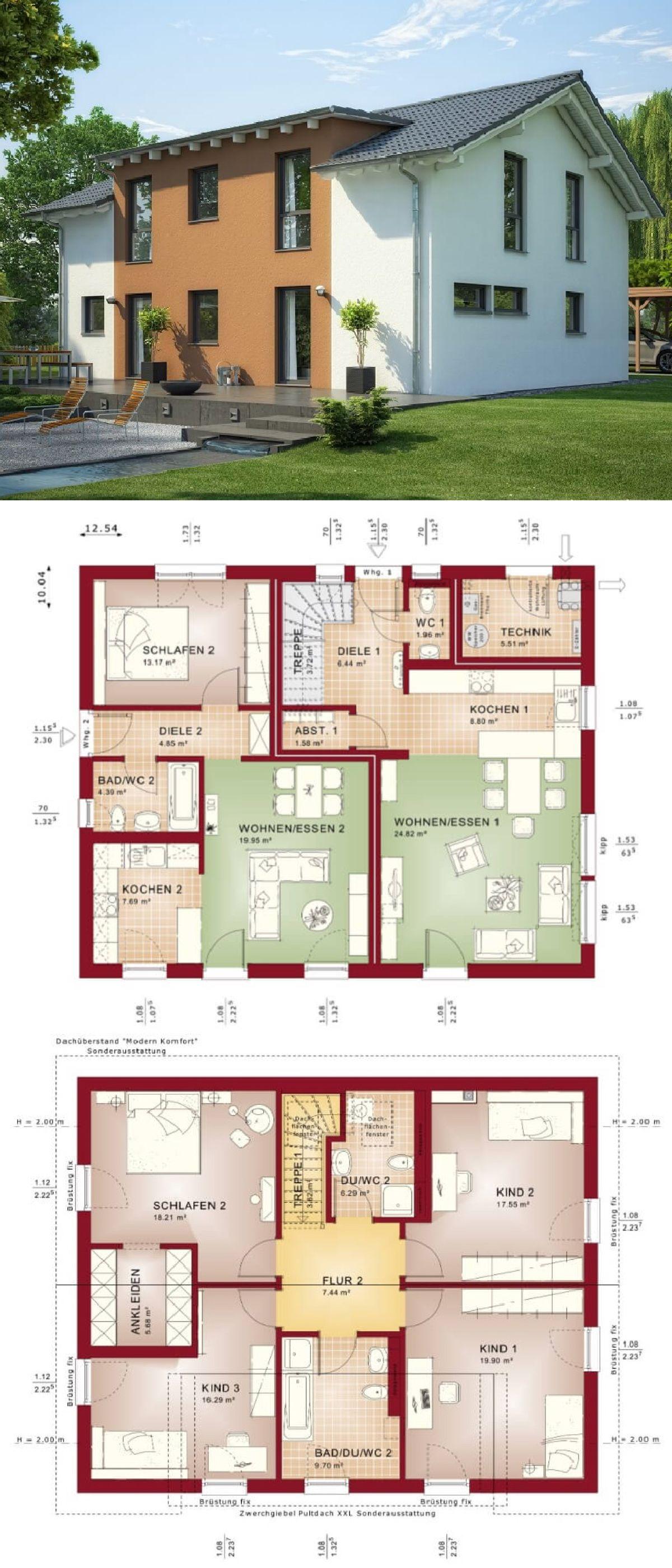 Modernes Einfamilienhaus Mit Einliegerwohnung U0026 Satteldach Architektur   Haus  Bauen Ideen Grundriss Zweifamilienhaus Evolution 207 V6