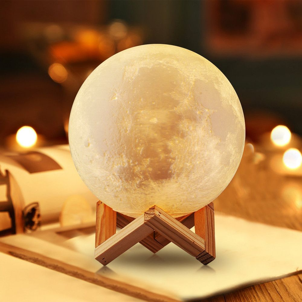 Lighting Night Light Led 3d Printing Moon Lamp Warm And Cool White Dimmable F1515 In 2020 Moon Light Lamp Lamp Decor Touch Lamp