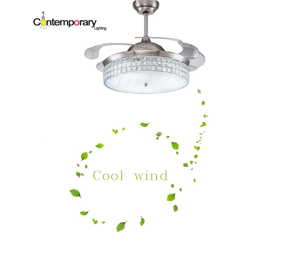 Modern Ceiling Fan Crystal Retractable Blades Remote Control With Lights Invisiable LED Folding Dining