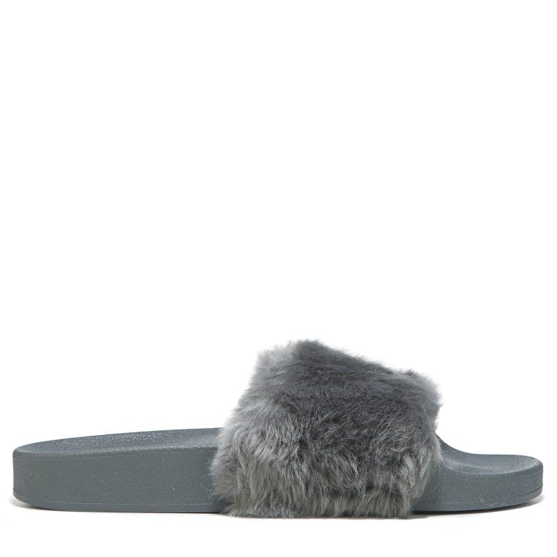 Womens Steve Madden Softey Fur Slide Sandal Grey