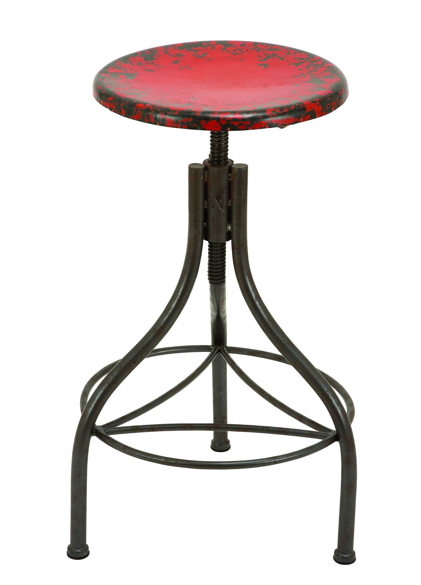 Red Metal Bar Stool can be Adjusted as Required