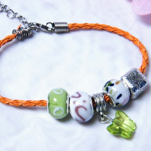 Braided Leather Pandora-Like Bracelet w/ 5 Charms These are Pandora and Euro compatible charms / Beads ....All are New, Murano Lampwork Glass Beads, 925 silver beads, etc ...............Each 1 is unique and assembled by me........... Great Valentine's Day Gift Jewelry Bracelets
