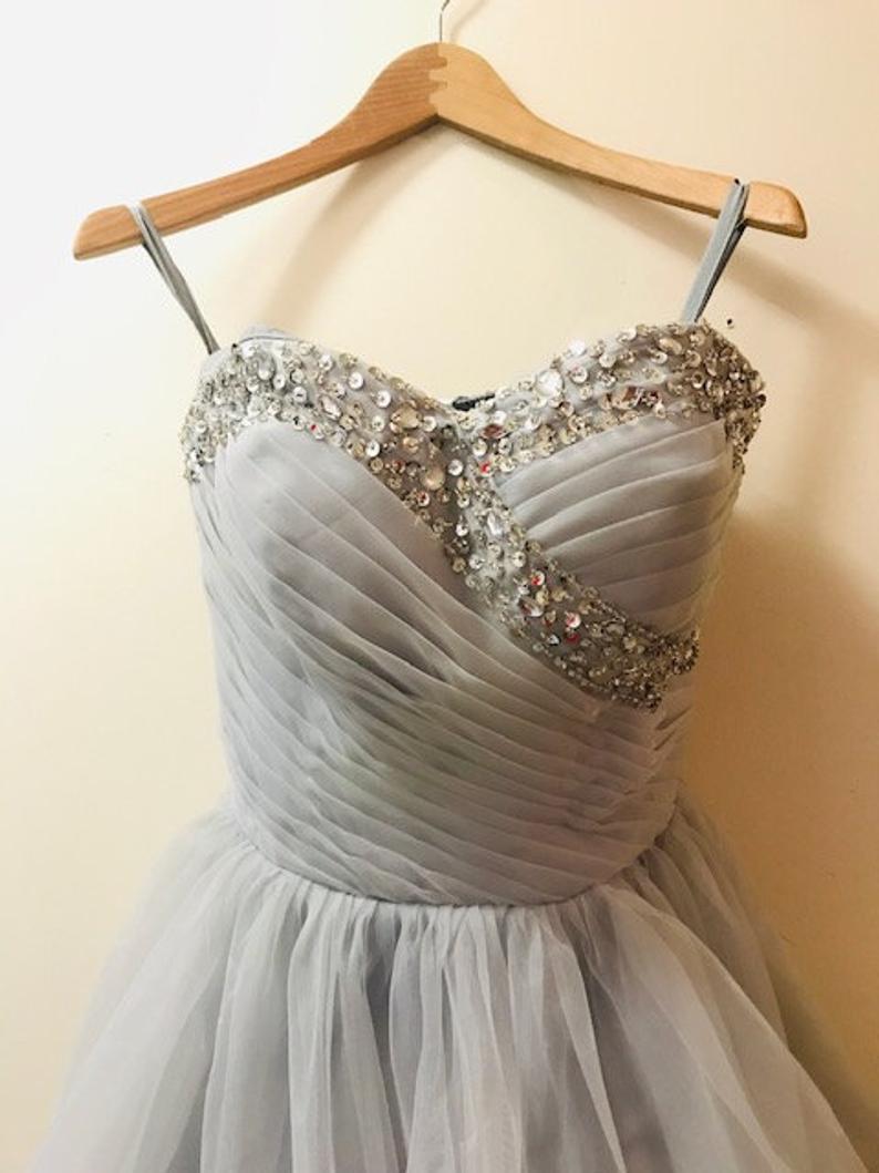 Vintage Gray Tutu Dress Sweetheart Neckline Cocktail Dress Sequined Strapless Elegant Dress Size Small Elegant Dress Dresses Tutu Dress [ 1059 x 794 Pixel ]