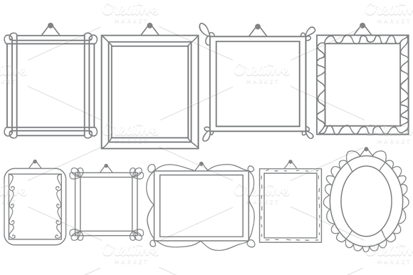 Vector Hanging Doodle Frames Set