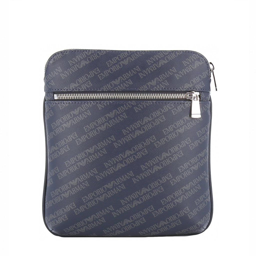 2d360e43f8 Emporio Armani Men's Indigo Leather Monogram Crossbody Bag ...