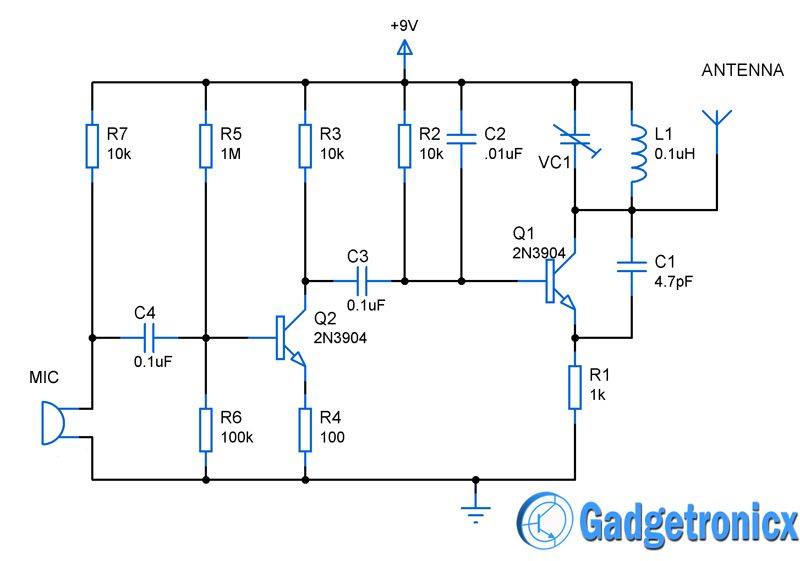 mini fm transmitter circuit diagram schematic design using simple transistors guide for