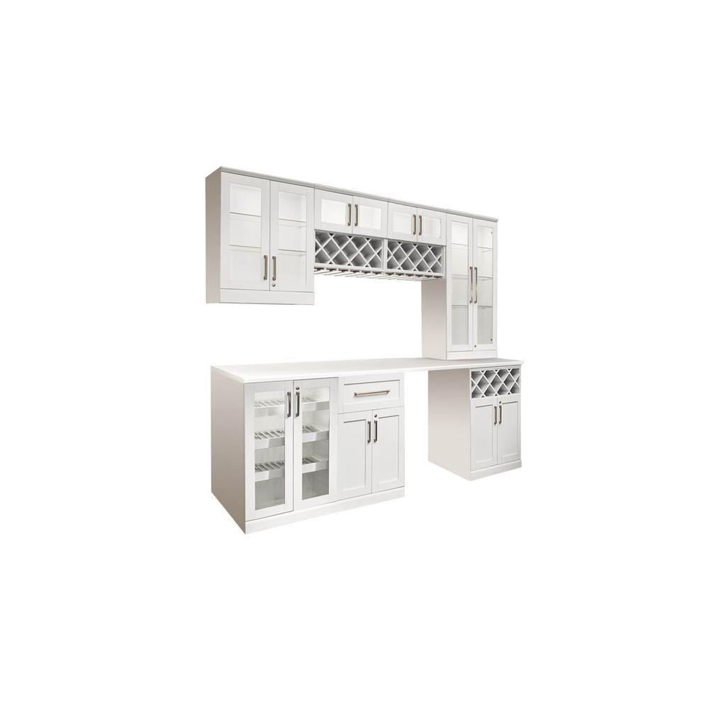White Woodgrain Shaker Style Modular Bar With Short Wall Cabinet Homebardecor