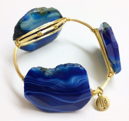 Wire Stone Bracelet Xlg Blue Agate