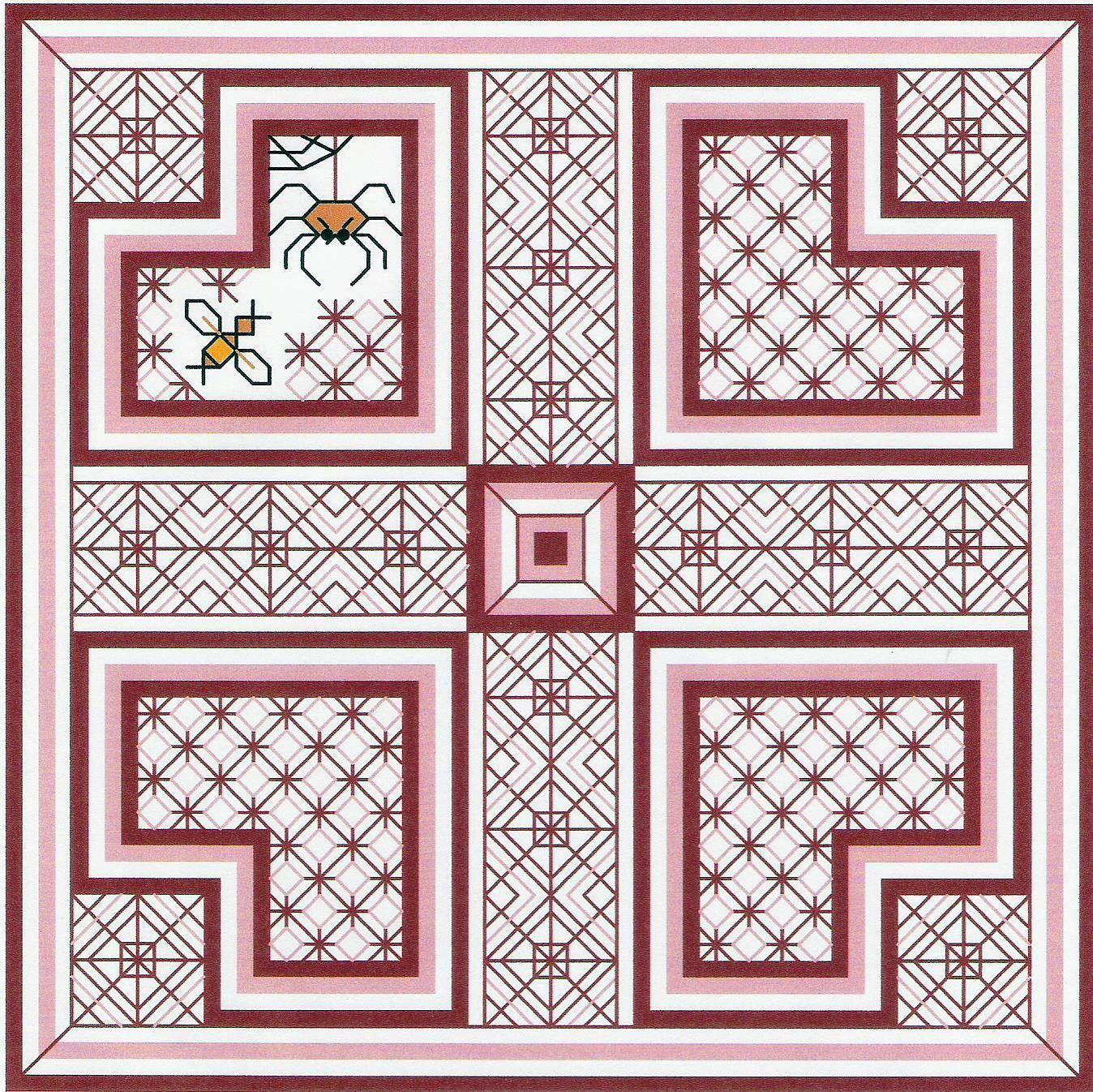 Cross stitch and blackwork combine! Freebie from www