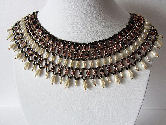 Necklace Scythians - Necklace Handmade – Bright, original filigree necklace author's design in a retro style - Bead weaving - unique