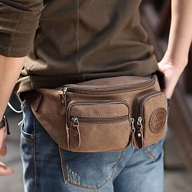 Men/'s Retro Canvas Shoulder Hiking Fanny Waist Travel Belt Purse Hip Pack Bag